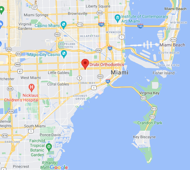 Drubi Orthodontics Miami Map