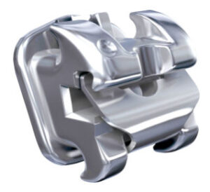 Self ligating metal bracket